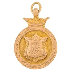 Heavy 9ct Gold Fob Medal Crown Motif (5.7g)