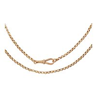 """19.5"""" Antique 9ct Gold Faceted Belcher Chain with Large Dog Clip, (9.5g)"""