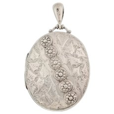 Silver Victorian Aesthetic Oval Locket, c.1882