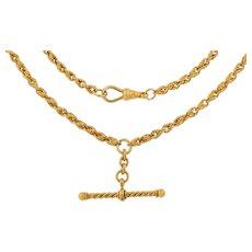 "19"" Antique 15ct Gold Rope Albert Chain, T-Bar (28g)"