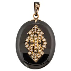 Antique Onyx Pearl 15ct Gold Locket
