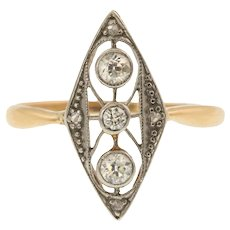 Art Deco Diamond Ring (0.20ct) -14ct & Platinum