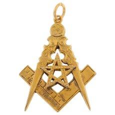 Masonic 9ct Gold Compass & Square Pendant