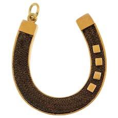 18ct Gold Horseshoe Woven Hair Pendant