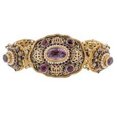 "Austro-Hungarian Amethyst Pearl Bracelet, 7"""
