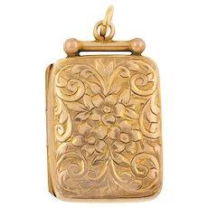 9ct Gold Antique Engraved Locket- Rectangular
