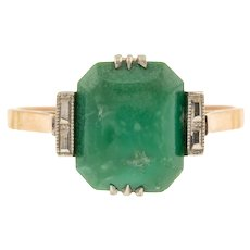 Art Deco Turquoise Cocktail Ring - 9ct Gold