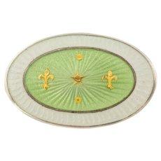 Art Nouveau Mint Green Enamel Silver Brooch