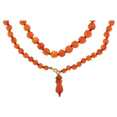 """Victorian Faceted Carnelian Bead Necklace, 30"""""""