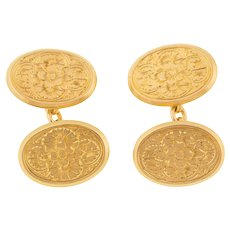 18ct Gold Antique Cufflinks, Engraved Forget-Me-Not Motif (11.7g)