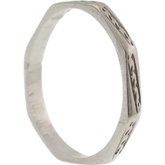 Art Deco Platinum Faceted Engraved Wedding Band, (2.3g)
