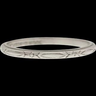 Art Deco Engraved Platinum Wedding Band, 2mm
