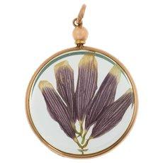 """Antique 9ct Gold Round """"Flowers"""" Locket, c.1915"""