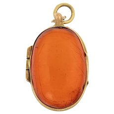 """Antique Amber """"Egg"""" Locket"""