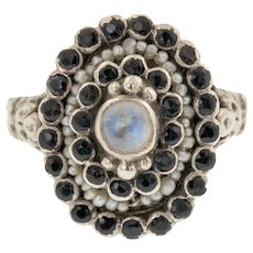Silver Austro-Hungarian Sapphire Cluster Ring
