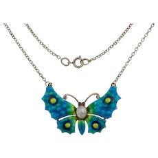"Art Nouveau Enamel Butterfly Silver Pendant, 17"" Integral Chain"