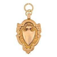 Antique 9ct Gold Engraved Shield Medal Pendant, 7g