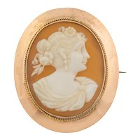 Antique 9ct Gold Cameo Brooch, Lady's Portrait