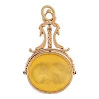 Victorian Gold Carnelian Swivel Fob, Portrait Intaglio