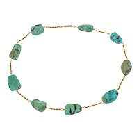 """Victorian 9ct Gold Turquoise Necklace, 15"""""""