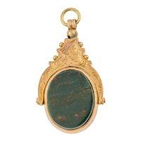 Art Deco 9ct Gold Bloodstone Carnelian Swivel Pendant