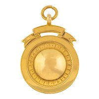 Heavy Solid 9ct Gold Art Deco Fob Medal, c.1928
