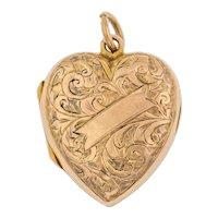 Antique 9ct Gold Puffy Heart Locket