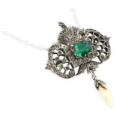 Gorgeous Edwardian Silver Green Paste Pendant and Chain - c.1901