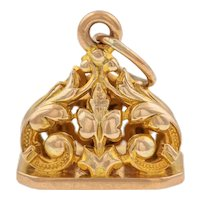 Heavy Antique 9ct Gold Blank Fob Pendant, (8g)
