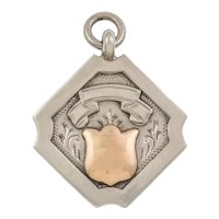 Art Deco Medal Fob Pendant- Silver & 9ct Gold