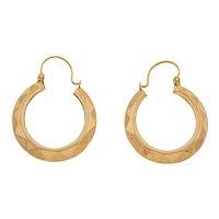 9ct Gold Faceted Hoop Earrings (22.5mm)