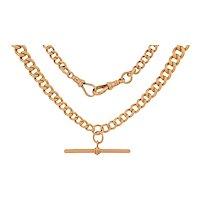 "Antique 9ct Gold Graduating Link T-bar Albert Chain, 16"" (52g)"