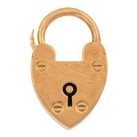 Edwardian 9ct Gold Dainty Heart Padlock Pendant