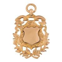 Edwardian 9ct Gold Fancy Shield Fob, 10.5g