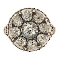 Georgian Paste Cluster Dress Ring - 14ct Gold & Silver