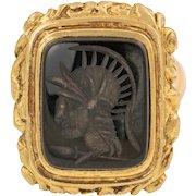 9ct Gold Onyx Fob Pendant - Roman Portrait Intaglio