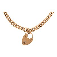 """16"""" Heavy 9ct Rose Gold Albert Chain, with 2 x Matching Antique Dog-Clips and Heart Padlock (36g)"""