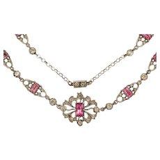 """Antique Silver Pink Paste Fancy Necklace, 16"""""""