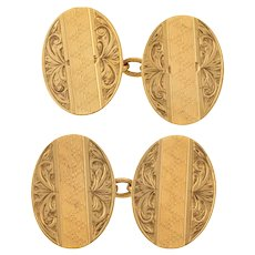 Art Deco 9ct Gold Oval Engraved Cuff Links, 9.3g