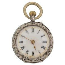 Antique Swiss Solid Silver Decorative Ladies Pocket Watch
