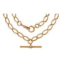 "15.5"" Antique Heavy 9ct Gold Albert Chain (44g), Antique Dog-Clip & Bolt-Ring"