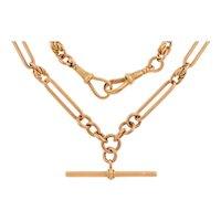 "17"" Antique 9ct Gold Trombone Link Albert Chain, 36.2g"