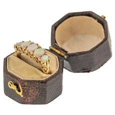 Victorian Brown Leather Hexagonal Ring Box
