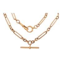 "20"" Antique 9ct Gold Trombone Link Albert Chain, 36g"