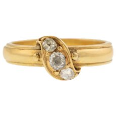 "Rare ""Secret Love"" 18ct Gold Diamond Mourning Ring"