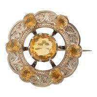 Antique Scottish Silver Citrine Roundel Brooch, (4.70ct)