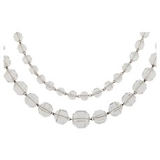 """43"""" Long Art Deco Rock Crystal Beaded Necklace, (93g)"""