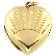 Art Deco 9ct Back and Front Yellow Gold Sunray Design Puffy Locket