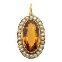 Antique 15ct Gold Citrine Pearl Cluster Pendant (2.90ct)