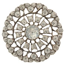 Antique Silver Open Work Black Dot Paste Button